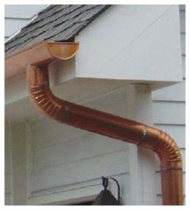 copper downspout, copper down spout, copper gutter installation